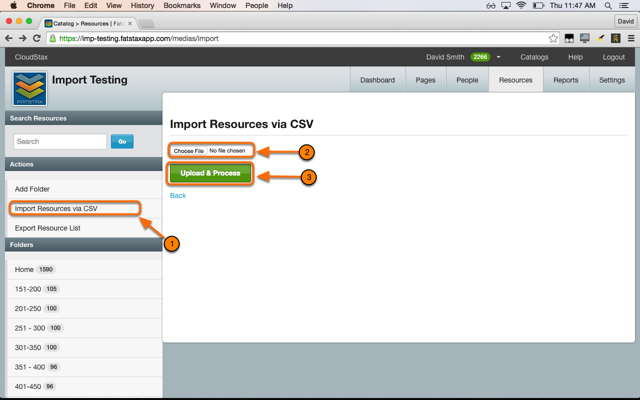 Select Import Resources via CSV in the Resources Menu of the destination catalog.