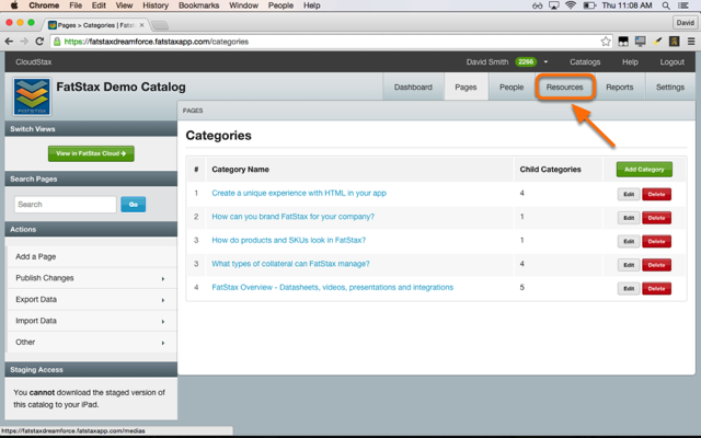 Open the Resources Menu of the source catalog.