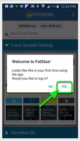 In FatStax, you will be asked if you'd like to log in. Tap Yes.