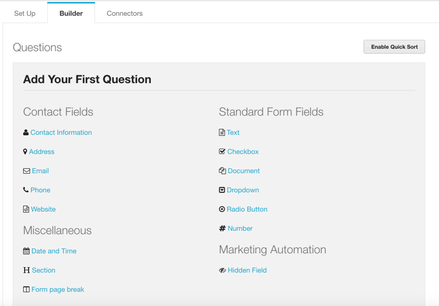 For your first question - click on the field type that you wish to add