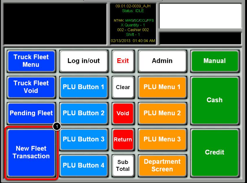 Select New Fleet Transaction Button