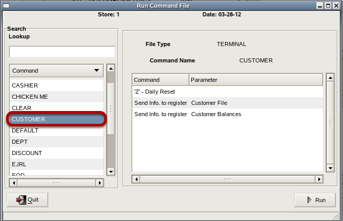 Select CUSTOMER command