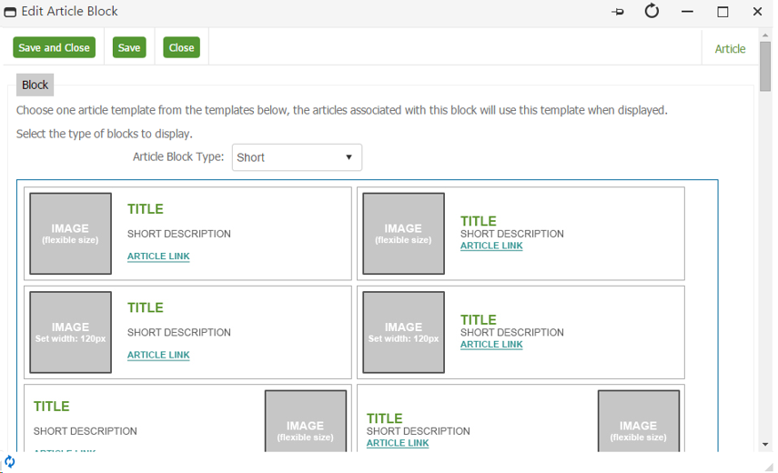 Selecting the Article Block Template