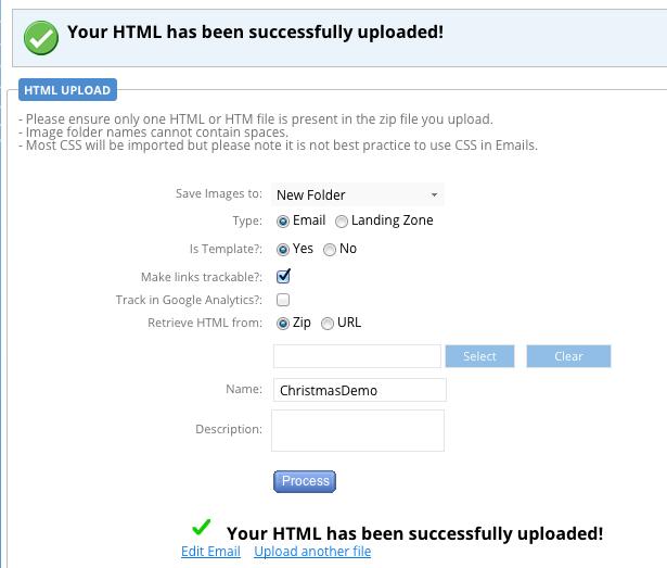 HTML Upload - Success Message