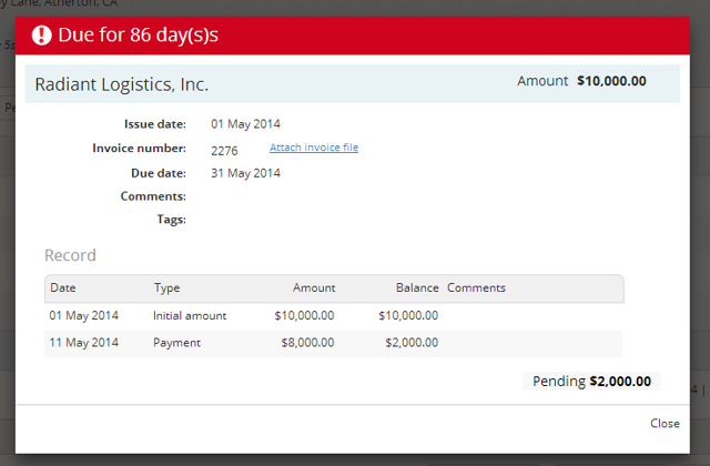 A screen with invoice details will open.