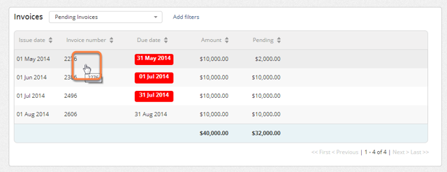 On the list of invoices, click on the invoice for which you want to see the details.