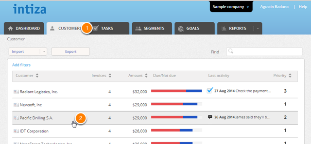 Go to the Customers tab and click on the customer you want to add a task for.