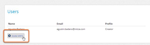 "Click on the ""Invite users"" button."