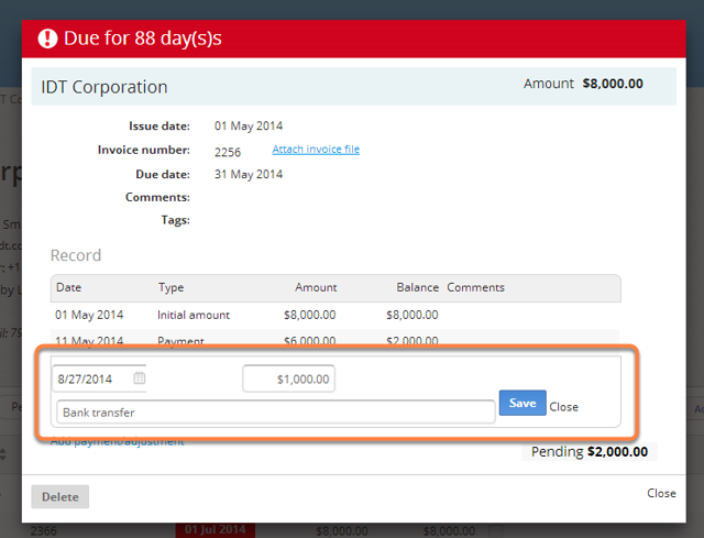 """Add the information of the payment and then click on """"Save"""""""