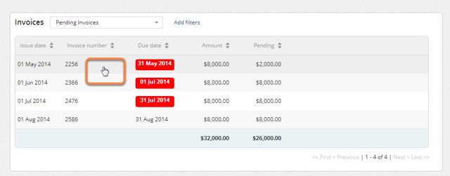 Once in the customer's page click on the invoice you want to add a payment to.