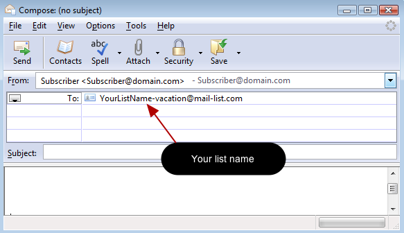 Send a blank message in this format to suspend mail delivery to your email address: