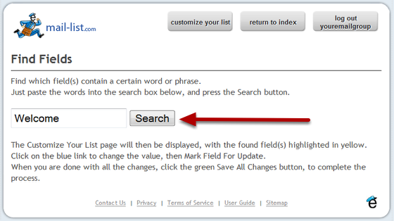Enter the word or phrases you are looking for, and press the search button.