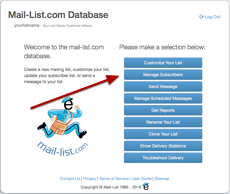 Log in to http://database.mail-list.com