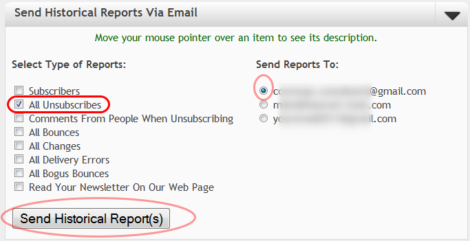 """Select """"All Unsubscribes"""" and the email address where you want to receive the report."""