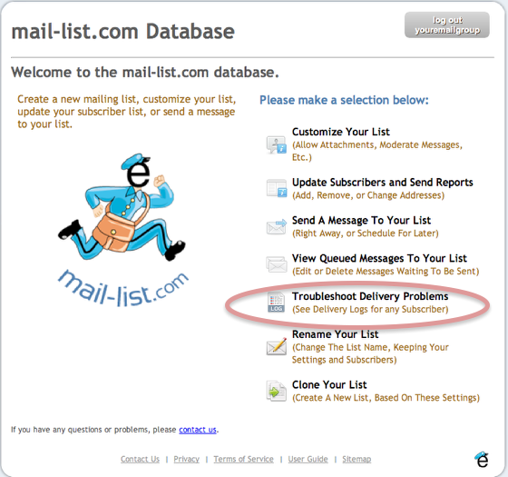"""Log into your mail-list account, and select """"Troubleshoot Delivery Problems"""" icon."""