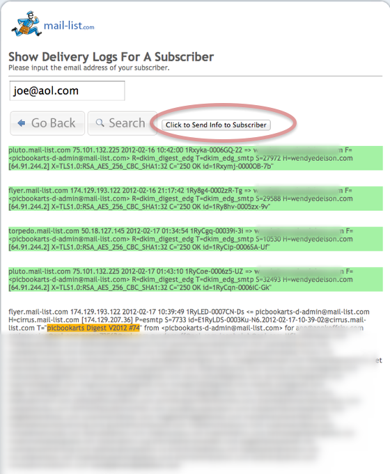 The results are shown, messages that were successfully delivered are highlighted in green.