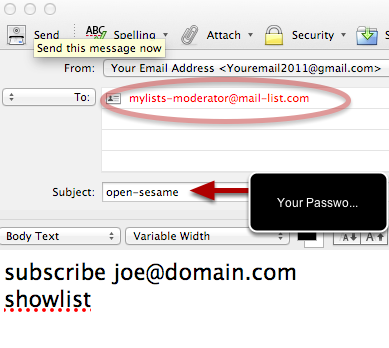 Send the email to mylists-moderator@mail-list.com and put any password, from any list, in the Subject Line