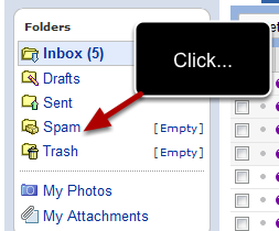 The link to open spam folder in Yahoo Mail is displayed on the left sidebar. Just click on the link to access the spam folder: