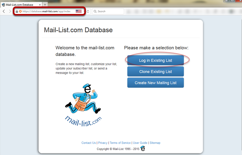 Visit https://database.mail-list.com with your web browser
