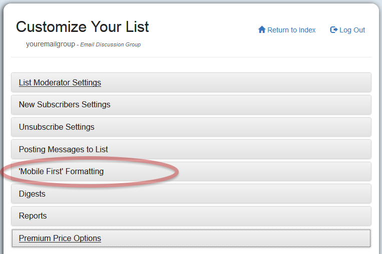You can access the setting by logging in and clicking on the Customize Your List button.