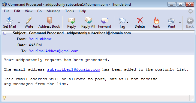 "You will also receive a ""Command Processed"" email for each subscriber:"
