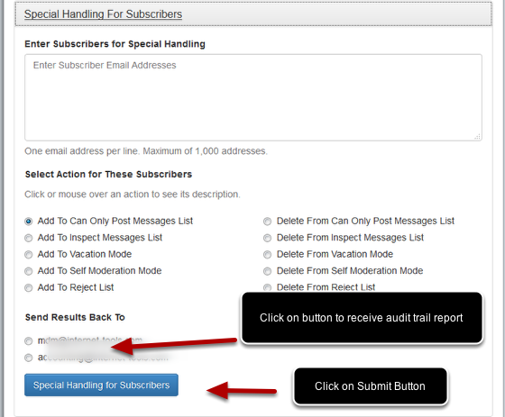 Select which list moderator will get the audit trail report back