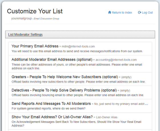 "List Owners are set up from the mail-list account (Your primary email address) under ""List Moderator Settings"" at http://database.mail-list.com:"