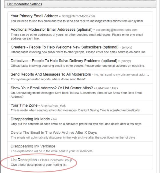 "Click on ""List Description"" under ""List Moderator Settings"":"