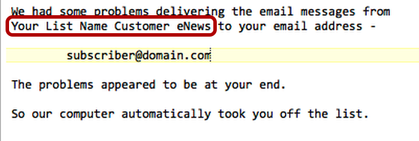 The list description is only shown in error messages and web page confirmations. Example: