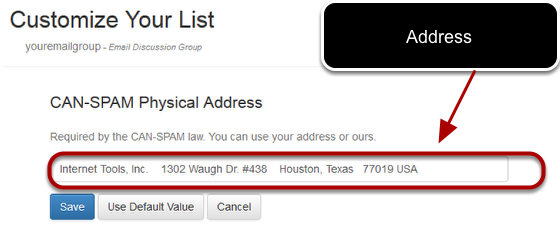 Enter your address on the next screen. Example:
