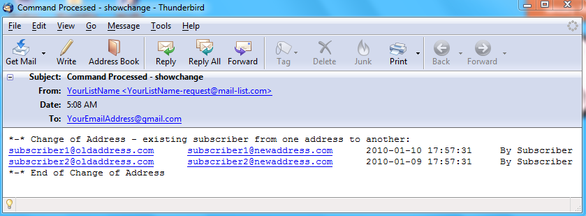 The following is an example of an email that you will receive: