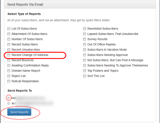 "To get a recent report, select ""Recent Change of Address"" and the email address where you want to receive the report."