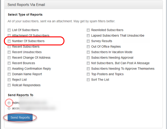 "Select ""Number of Subscribers"" option and the email address where you want to receive the results:"