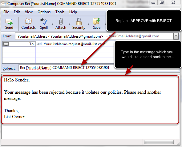 Now change APPROVE with the command REJECT, INTRO or COMMENT and type your message in the body. Here is an example: