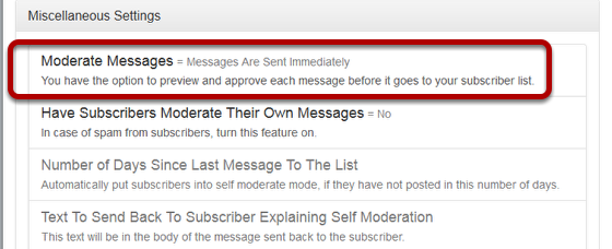 "Click on ""Moderate Messages"" link under ""Miscellaneous Settings"":"
