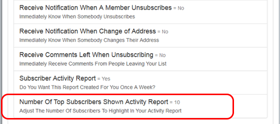 "Click on ""Reports"" and then on ""Number of Top Subscribers to Show...."" which is the last option in the category:"