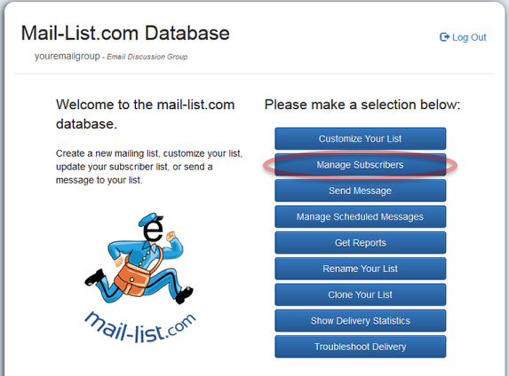 Login at http://database.mail-list.com