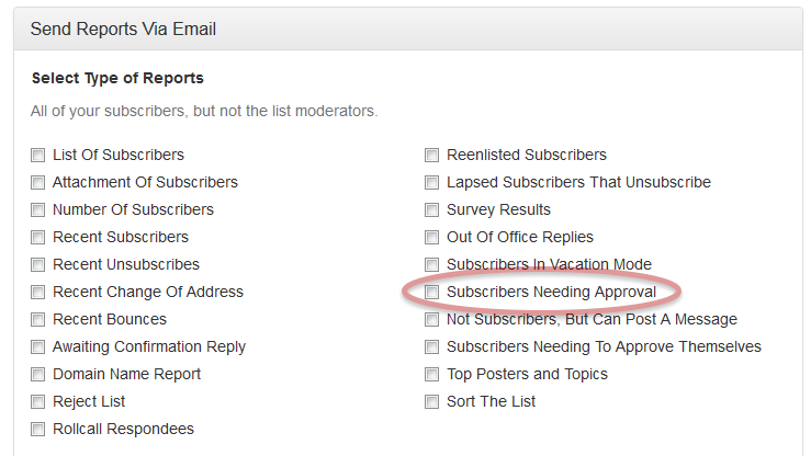Select Subscribers Needing Approval