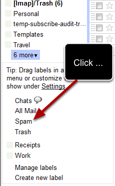 "Click on ""more"" and a new window will open in the sidebar where you will find the spam link:"