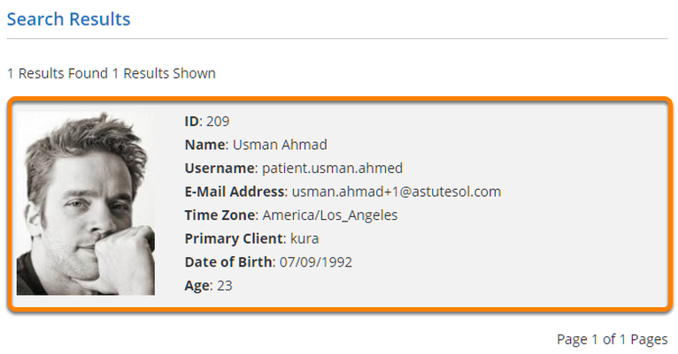 Click on the Patients' Profile