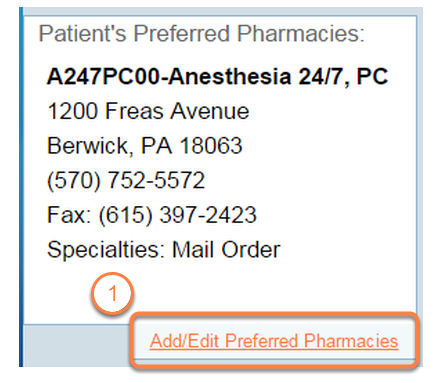 Locate the Patients' Preferred Pharmacies section