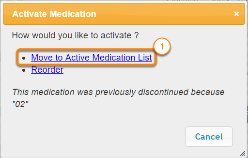 Activate the Patient's Inactive Medications