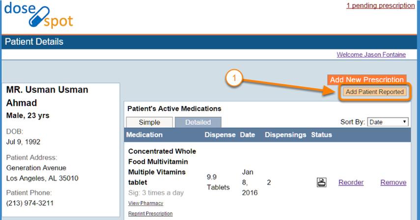 Go to Self Reported Prescriptions