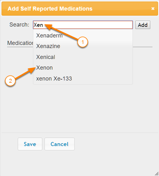 Search Self Reported Medications