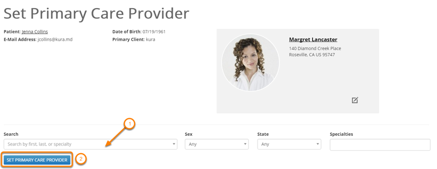 Update Primary Care Provider