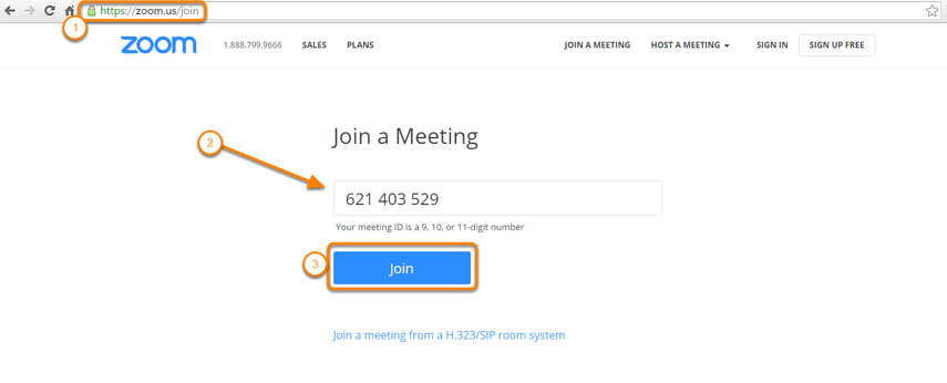 Join via a Browser, open up a New Internet Browser Tab and in the Address, Enter the Meeting ID