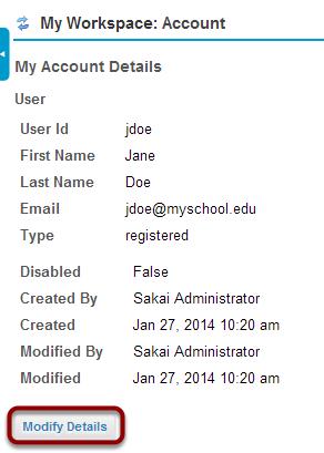 Modifying account details.