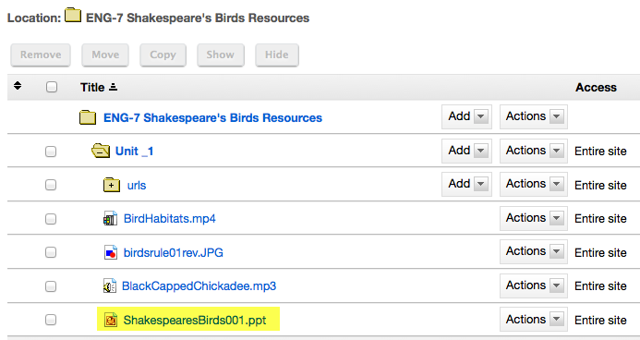 Notice item location in Resources.