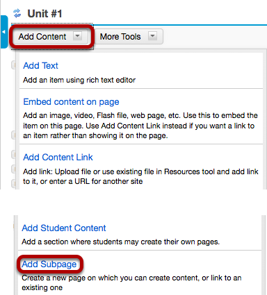Click Add Content, then Add Subpage.