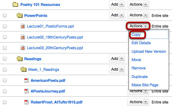 Method 1: Click Actions, then Copy.